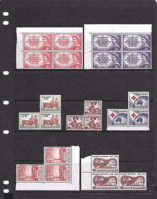 Attractive Coll Of 23 MNH/MLH Aust Predecimal Stamps (2 Blocks X4 & 5 Blocks X3)