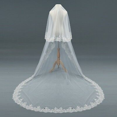 Wedding Veils Cathedral 2T Layer Comb Bridal Veils Accessories Veil Cover Face