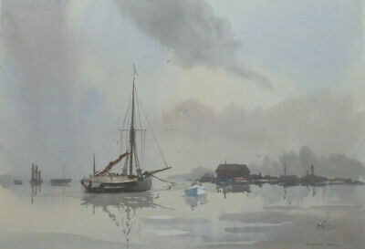 SYDNEY VALE FRSA - SAILING BOAT AT MALDON - 20th C ORIGINAL VINTAGE WATERCOLOUR