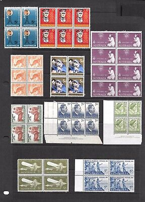 Nice Mixed Rare Coll Of 10 **MNH, MLH** Australian Predecimal Block Stamps. WOW