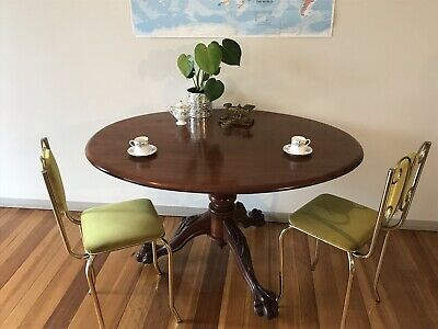 Vintage Cedar Victorian Style Breakfast Table. Small Pedestal Dining. Lion Paws!