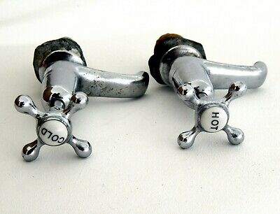 "Pair Vintage Traditional Chrome Basin Sink Taps 1/2"" Hot Cold Porcelain Caps"