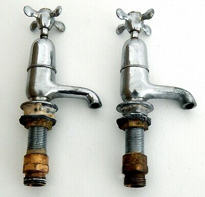 "Pair Vintage Traditional Chrome Basin Sink Taps 1/2"" Hot Cold Period House"