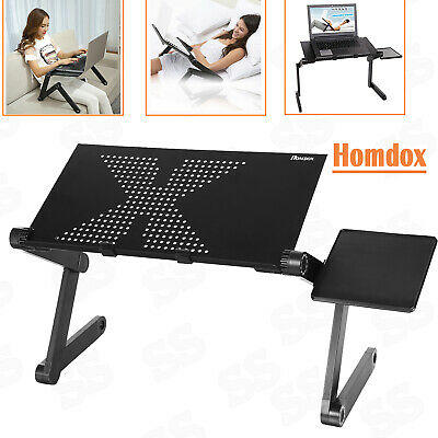 Homdox360°Adjustable foldable Laptop Notebook Desk Table Fan Hole Stand Bed Tray