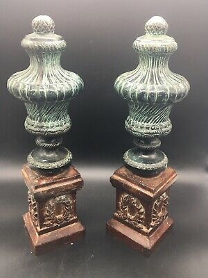 Pair Of French Clock Garnitures/ Mantel Pieces Bronze On Painted Cast Iron Base