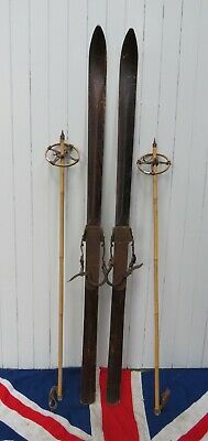 ANTIQUE VINTAGE OLD WOODEN SKIS & BAMBOO POLES WITH BEAR TRAP BINDINGS 180m