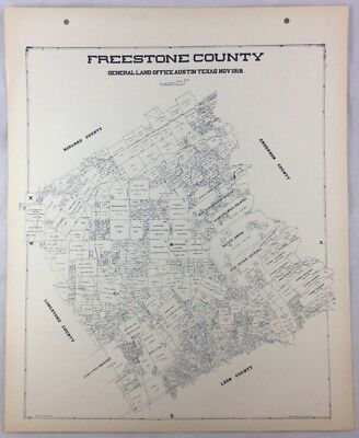 Antique General Land Office Map Freestone County Texas Showing Plats ++