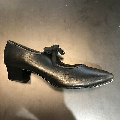 Womens Black tap shoes with cuban heel size 9 UK - toe taps only no heel tap