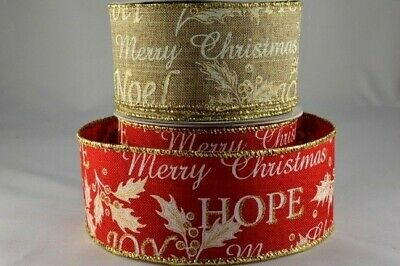 Wired natural or red jute effect Christmas ribbon with gold 50mm x 10M roll