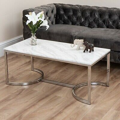 Marble Effect Coffee Table Gold Silver Brushed Steel Brass