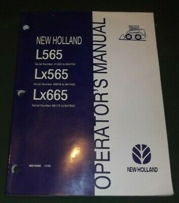 NEW HOLLAND L565 Lx565 Lx665 Skid Loader Operator's Manual