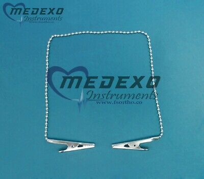 100 Pcs Lot of Napkin Holder with Metal Chain stainless steel Dental Instruments