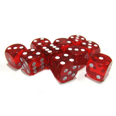 10pcs/Set Brand New Durable Six Sided Square 16mm D6 Dice Red + White Pip Die