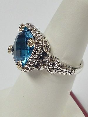 Blue Topaz Ring in Sterling Silver and Solid 14kt Yellow Gold