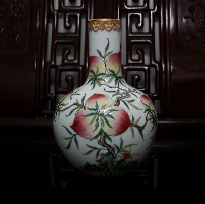 Old Rare Famille Rose Chinese Porcelain Peach Vase Qianlong MK H8.27""