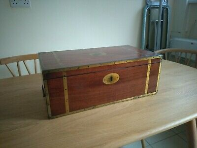 George III Circa 1800 Mahogany Campaign Captain's Writing Slope