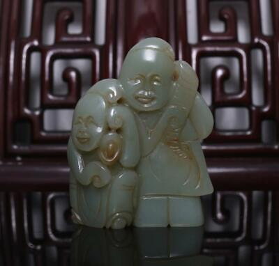 Old Chinese Celadon Nephrite Hetian Two Figures Jade Pendant