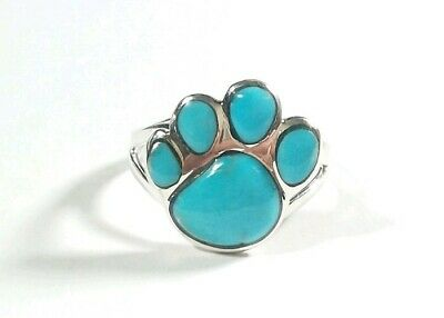925 Sterling Silver Puppy Paw Design Turquoise Size 9 Ring
