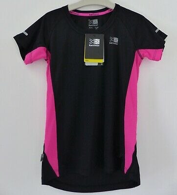 Brand New Karrimor Girls Run T-Shirt/Top, Size 13 yrs, Black & Pink