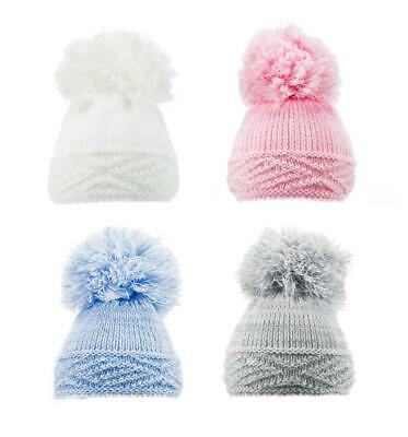 Boy/Girl Hat With Pom Pom/Bobble 0-12 Mths Blue/Pink/White/Grey Soft Touch