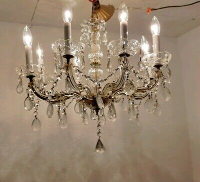 Outstanding Antique  restored crystal Maria Theresa 8 arm Glass Chandelier
