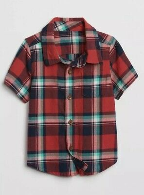 Gap Baby Boy Plaid Short Sleeve Shirt T-Shirt Top Red Blue Size 6-12 Months NWT