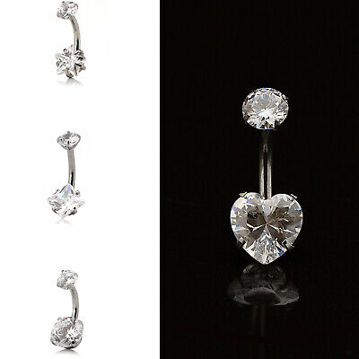 Belly Button Bar Navel Piercing Double Gem CZ Zirconia Surgical Steel 4 shapes