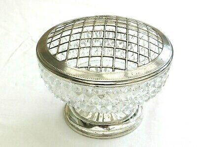 Vintage Cut Glass & Silver Plated Rose Bowl With Grille   1470962/966