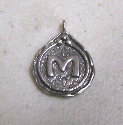 Vintage Israel SHABLOOL DIDAE 925 Sterling Silver M Letter Initial Charm Pendant