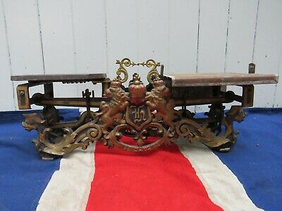 Decorative Antique Swedish Royal Heraldic Lion And Sea Serpent Weighing Scales