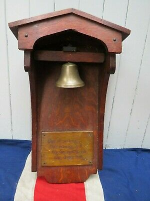 Quirky Antique Vintage Wooden Cased School Dinner Bell Poet  Lord Byron