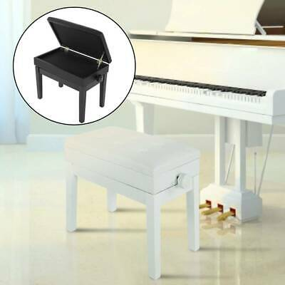Height Adjustable Leather Piano Wood Bench Storage Box Stool Soft Cushion Seat
