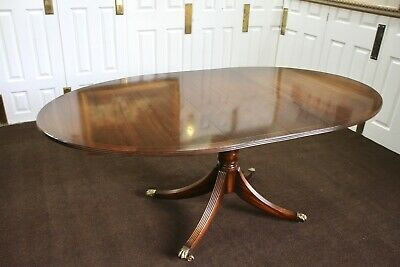 Antique Inlaid Mahogany Extending Pedestal Dining Table With 4 Legs Stamped 4776