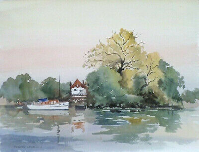 SYDNEY VALE FRSA THAMES CRUISER AT BOATHOUSE 20th C ORIGINAL VINTAGE WATERCOLOUR