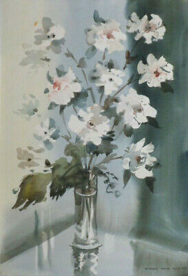 SYDNEY VALE FRSA - A VASE WITH  WHITE FLOWERS - 20th C VINTAGE WATERCOLOUR