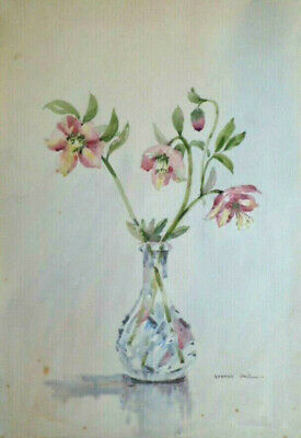 SYDNEY VALE FRSA - A VASE OF PINK HELLEBORES  - 20th C VINTAGE WATERCOLOUR