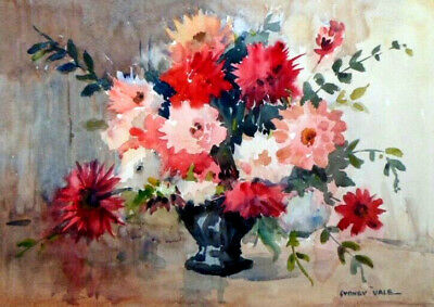 SYDNEY VALE FRSA - A VASE OF RED & PINK DAHLIAS  - 20th C VINTAGE WATERCOLOUR