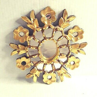 Vintage Antique Gold Painted Wooden Framed Mirror Flower Design