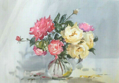 SYDNEY VALE FRSA - A VASE OF RED & YELLOW ROSES - 20th C VINTAGE WATERCOLOUR