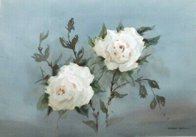SYDNEY VALE FRSA - TWO WHITE ROSES  - 20th C VINTAGE WATERCOLOUR