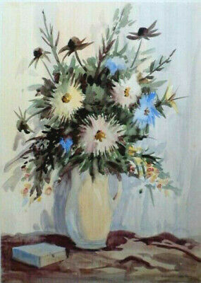 SYDNEY VALE FRSA -JUG OF FLOWERS ERINGIUM & DAHLIAS - 20th C VINTAGE WATERCOLOUR