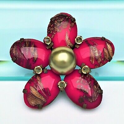 Vintage Signed Schreiner New York Red & Gold Art Glass Flower Brooch