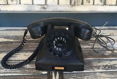 Vintage Bakelite PIT Rotary Desk Phone Black Dial Antique Holland Telephone
