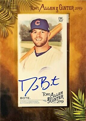 2019 David Bote Topps Allen & Ginter Framed Mini On Card Auto Cubs