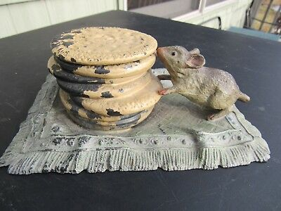 ANTIQUE ORIGINAL 1800's MOUSE INKWELL EATING STEFANIE BISCUITS POLYCHROME UK