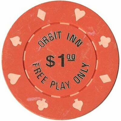 Orbit Inn Casino Las Vegas NV $1 (Free Play Only) Chip 1986