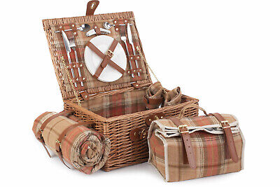 Willow Direct Picnic Hamper 2 person Autumn Red Tartan