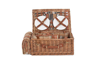 Willow Direct Picnic Hamper 4 person Autumn Red Tartan