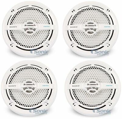 """4) Sony XS-MP1611 6.5"""" 280W Dual Cone Marine Speakers Audio Stereo White Package"""