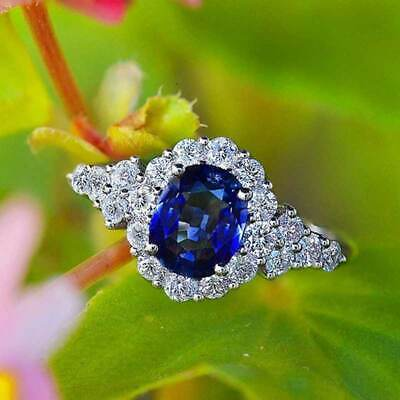Fashion Women Jewelry Oval Cut Blue Sapphire 925 Silver Ring Wedding Size 6-10
